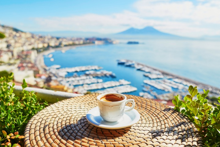 A coffee overlooking Italy's Bay of Naples