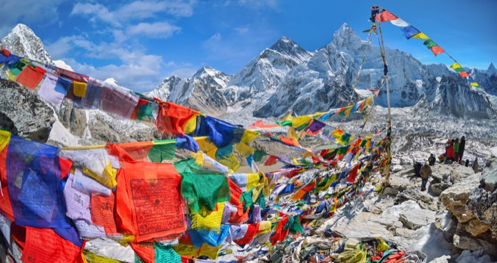 View of Everest with Tibetan prayer flags, Nepal