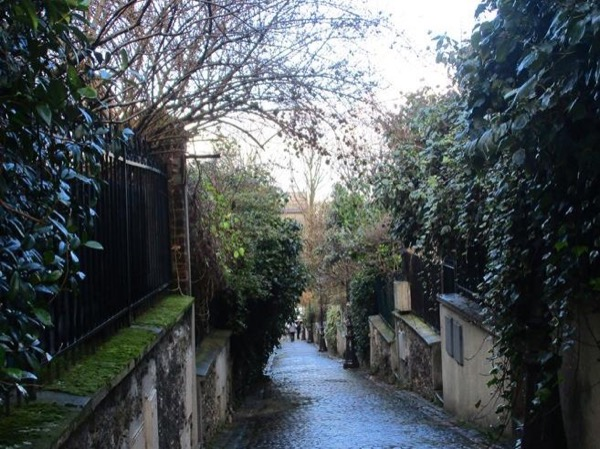 Picturesque Paris: Mouzaïa and Butte Bergeyre and French Bocci Ball game near Saint Martin Canal