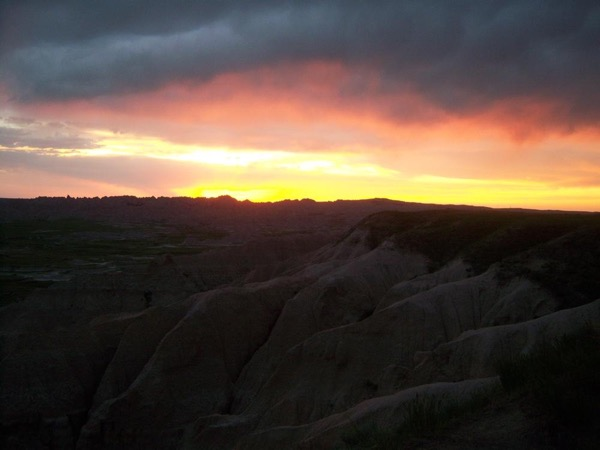 Daylight and Sunset in the Badlands of South Dakota