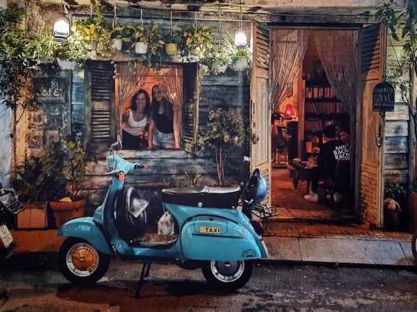 Hanoi by night on vintage Vespa