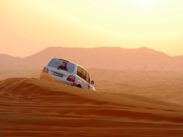 Morning desert drive, Camel race track in 4WDrive