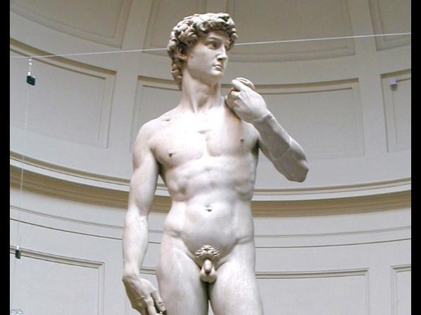 Accademia: original David and the 4 Slaves by Michelangelo